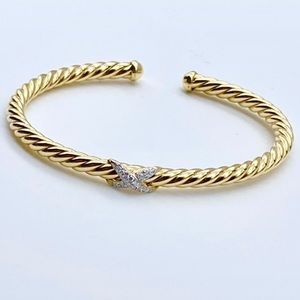 NWT🔥DY 18kt gold diamond XCable Bangle